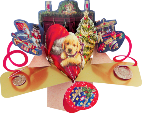 Second,Nature,Xmas,Petite,Pop,Ups,-,Santa,&,Dog,Second Nature Pop Ups, Original Pop-ups, Pop up greeting card, Pop up, Pop-up, Pop-ups, Christmas Pop Up, Xmas Pop Up, Petite Pop Ups, Small pop ups, Santa & Dog
