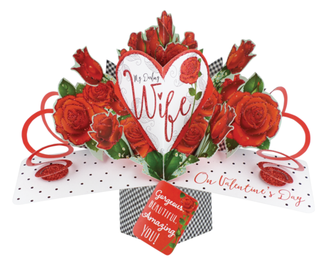 Second,Nature,Valentine's,Day,Pop,Ups,-,Wife,Heart,&,Roses,Second Nature Pop Ups, Original Pop-ups, Pop up greeting card, Pop up, Pop-up, Pop-ups, valentine's day Pop Up, Valentine day Pop Up, Wife, Roses, Heart