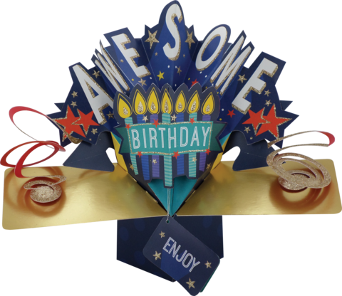 Second,Nature,Pop,Ups,-,Awesome,(Candles),Second Nature Pop Ups, Original Pop-ups, Pop up greeting card, Pop up, Pop-up, Pop-ups, Birthday, Awesome, Enjoy, Lettering, Candles, Cake, Stars, Blue, Gold
