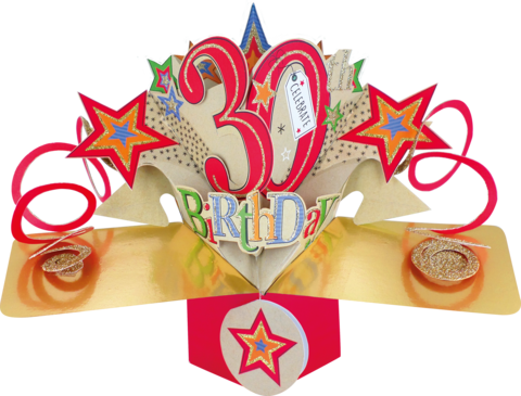 Second,Nature,Pop,Ups,-,30th,Birthday,(Stars),Second Nature Pop Ups, Original Pop-ups, Pop up greeting card, Pop up, Pop-up, Pop-ups, 30th Birthday, Stars, Colourful