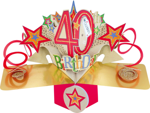 Second,Nature,Pop,Ups,-,40th,Birthday,(Stars),Second Nature Pop Ups, Original Pop-ups, Pop up greeting card, Pop up, Pop-up, Pop-ups, 40th Birthday, Stars, Colourful