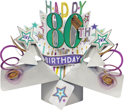 Second,Nature,Pop,Ups,-,80th,Birthday,(Stars),Second Nature Pop Ups, Original Pop-ups, Pop up greeting card, Pop up, Pop-up, Pop-ups, 80th Birthday, Stars, Candels, Colourful