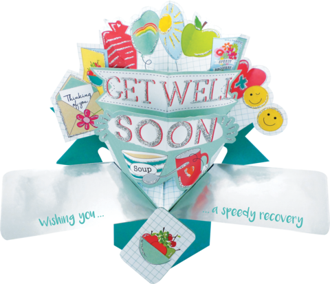 Second,Nature,Pop,Ups,-,Get,Well,(Icons),Second Nature Pop Ups, Original Pop-ups, Pop up greeting card, Pop up, Pop-up, Pop-ups, Get Well, Lettering, Icons, Fruit, Sun, Soup, Tea, Smiley Face, Speedy Recovery, Occasion
