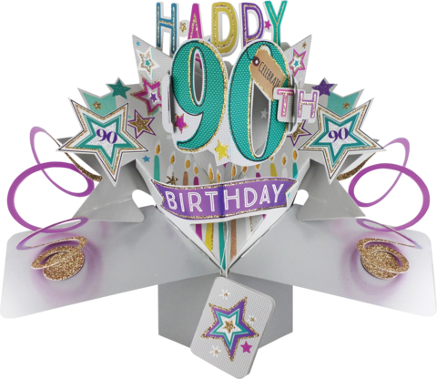 Second,Nature,Pop,Ups,-,90th,Birthday,(Stars),Second Nature Pop Ups, Original Pop-ups, Pop up greeting card, Pop up, Pop-up, Pop-ups, 90th Birthday, Stars, Candels, Colourful