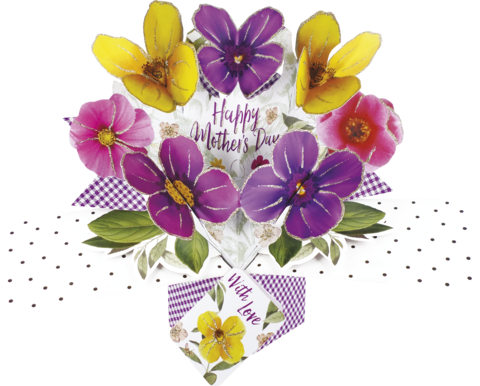 Second,Nature,Mother's,Day,Pop,Ups,-,Pansies,Second Nature Pop Ups, Original Pop-ups, Pop up greeting card, Pop up, Pop-up, Pop-ups, Mother's day Pop Up, Mother day Pop Up, Pansies, Flower