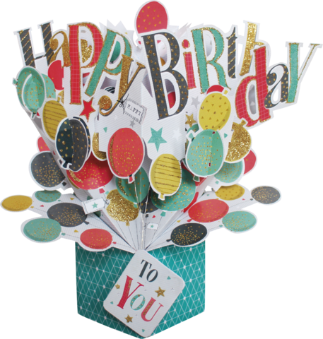 Second,Nature,Pop,Ups,-,Happy,Birthday,(Balloons),Second Nature Pop Ups, Original Pop-ups, Pop up greeting card, Pop up, Pop-up, Pop-ups, Birthday, Lettering, Balloon