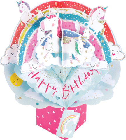 Secon,Nature,Pop,Ups,-,Rainbow,With,Unicorns,Second Nature Pop Ups, Original Pop-ups, Pop up greeting card, Pop up, Pop-up, Pop-ups, Birthday, Rainbow with Unicorns