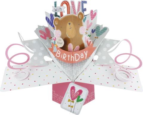 Second,Nature,Pop,Ups,-,Bear,&,Birdie,With,Hearts,Second Nature Pop Ups, Original Pop-ups, Pop up greeting card, Pop up, Pop-up, Pop-ups, Birthday, Bear & Birdie With Hearts