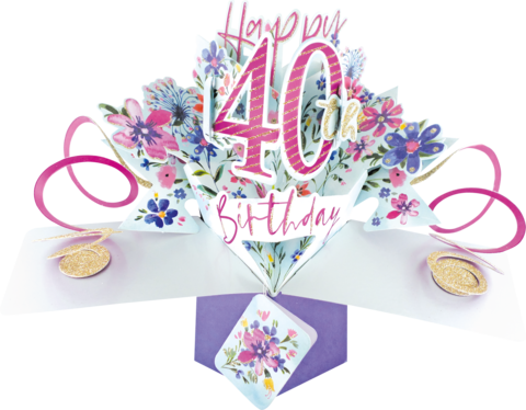 Second,Nature,Pop,Ups,-,40th,(Flowers),Second Nature Pop Ups, Original Pop-ups, Pop up greeting card, Pop up, Pop-up, Pop-ups, 40th Birthday, Flowers