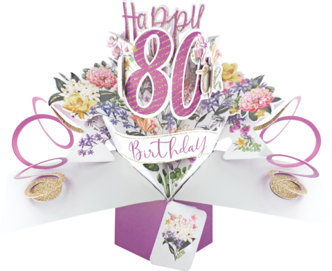 Second,Nature,Pop,Ups,-,80th,(Flowers),Second Nature Pop Ups, Original Pop-ups, Pop up greeting card, Pop up, Pop-up, Pop-ups, 80th Birthday, Flowers