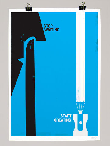 Stop,waiting,,start,creating,dale, edwin, murray, print, buy, limited, edition, art, illustrator, graphic artist