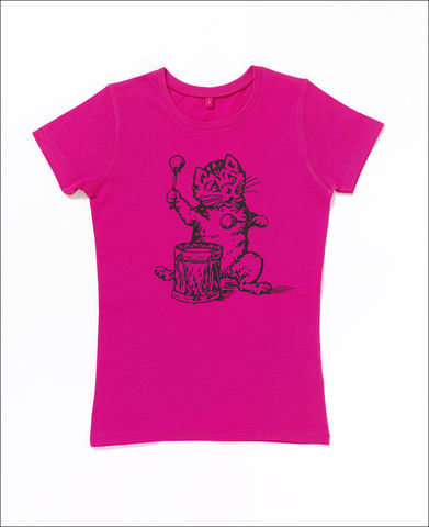 The,Postcard,Cat,T-Shirt,in,Hot,Pink,Edwyn Collins, postcard cat t-shirt, postcard cat