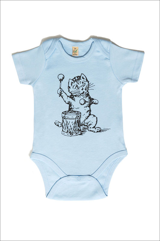 The Postcard Cat Babygrow (soft blue) - product images