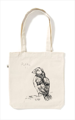 The,Puffin,Tote,Bag,Edwyn Collins Bird Drawings Tote Bag, Puffin Tote Bag
