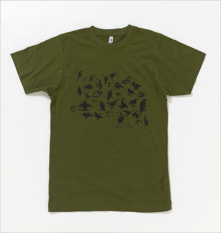 Losing,Sleep,Birds,T-Shirt,in,Moss,Green,Edwyn Collins T-shirt, Losing Sleep, Liberty Print, Bird t-shirt