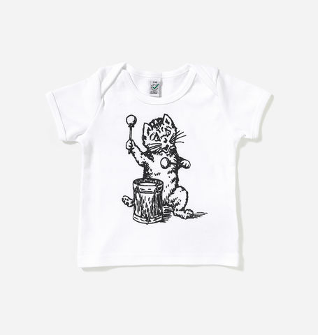 The,Postcard,Cat,White,Baby,Lap,T-Shirt,Postcard Cat, Baby T-Shirt,  Postcard Records