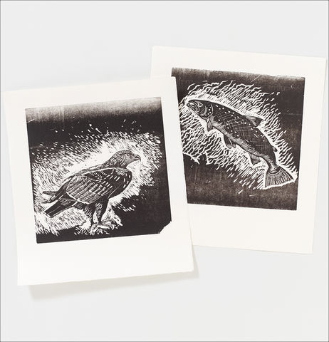 Set,of,two;,Salmon,and,Golden,Eagle,Letterpress,Prints,Salmon and Golden Eagle Letterpress Prints