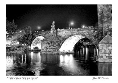 The,Charles,Bridge,The Charles Bridge, Prague Cxech Republic, bridges, water, black and white photography, B & W photos, Europe