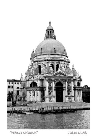 Venice,Church,Venice, Church, Water, Gondola, black and white photography, Julie Dunn, Fine Art Photography