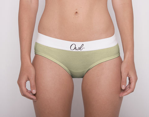 ORGANIC,-2ND-,GREEN,underwear, woman, ecologic, Sustainable, Organic , Undyed,  Cotton , Owl underwear, ropa interior, mujer, organico, ecologico, organica, ecologica, green, verde, calzoncillos, chica