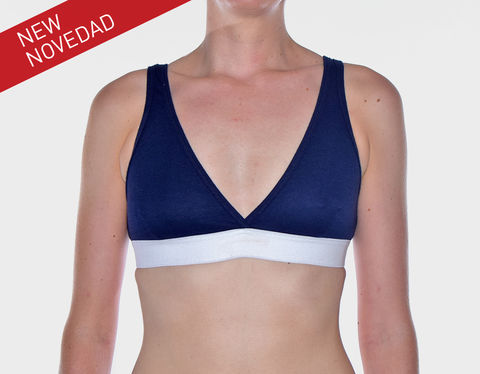 RECYCLED,-BRA-,NAVY,BLUE,underwear, woman, ecologic, Sustainable, Organic , Undyed,  Cotton , Owl underwear, ropa interior, mujer, organico, ecologico, organica, ecologica, azul, navy, blue, bra, sujetador