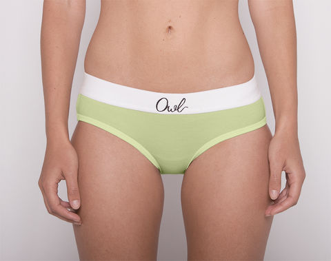COLORFUL,-2ND-,CELERY,underwear, woman, ecologic, Sustainable, Organic , Undyed,  Cotton , Owl underwear, ropa interior, mujer, organico, ecologico, organica, ecologica, Celery, green, verde