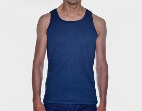 RECYCLED,-TOP-,NAVY,BLUE,underwear, men, man, ecologic, Sustainable, Organic , Undyed,  Cotton , Owl underwear, ropa interior, hombre, organico, ecologico, organica, ecologica, camiseta, interior, top,tshirt