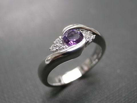 diamondamethystringjewelry ring purple engagement ring round brilliant cut - Purple Wedding Rings