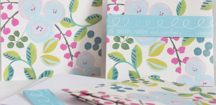 buy pretty stationery with flowers online