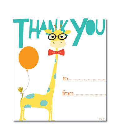 Giraffe,Thank,You,Cards,-,Pack,of,Ten,buy thank you cards, childrens thank you cards, boy thank you cards, giraffe thank you cards, pack of thank you cards