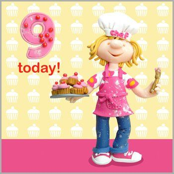 Cupcake,9,Today,Birthday,Card,buy 9th birthday card online, buy girls age 9 birthday card online, buy cupcake girls 9th birthday card online, buy pretty girl brithday cards for age nine 9 9th
