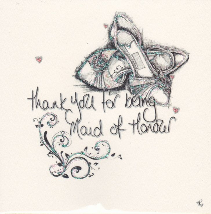 Hand Finished Maid Of Honour Thank You Card - product images