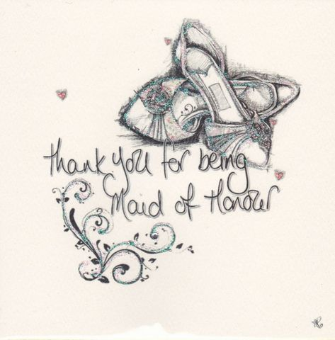 Hand,Finished,Maid,Of,Honour,Thank,You,Card,buy bridesmaid card online, bridesmaid thank you card, wedding party thank you cards, cards for bridesmaids, special bridesmaid card, maid of honour card, card for maid of honour