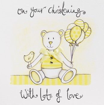 Hand,Finished,Teddy,Bear,Christening,Day,Card,buy christening card online, buy beautiful christening day cards online, buy luxury christening day card for baby online, baby girls christening day card, baby boys christening day card, teddy bear christening day card, buy yellow unisex christening day c