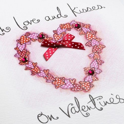 Hand Finished Love and Kisses Valentine's Day Card - product images  of