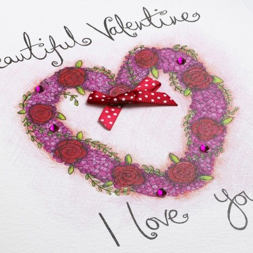 Hand Finished Beautiful Valentine Valentine's Day Card - product images  of