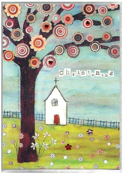 Hand Finished Church and Tree Christening Card - product images