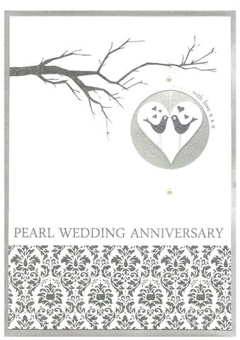 Love,Birds,Pearl,Wedding,Anniversary,Card,buy pearl anniversary card online, pearl wedding anniversary card, cards for wedding anniversaries, pearl wedding anniversary cards, card for 30th wedding anniversary, thirtieth anniversary card