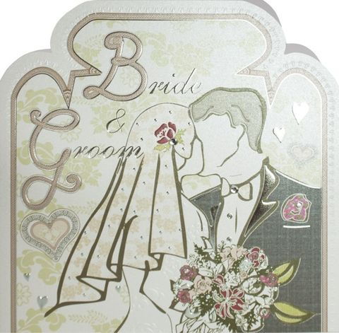 Hand,Finished,Bride,and,Groom,Wedding,Card,buy wedding card online, buy cards for weddings online, buy bride and grom wedding day card online, cards for brides and grooms, on your wedding day card, heart wedding card, rose wedding card, hand finished wedding day card, bride and groom wedding card