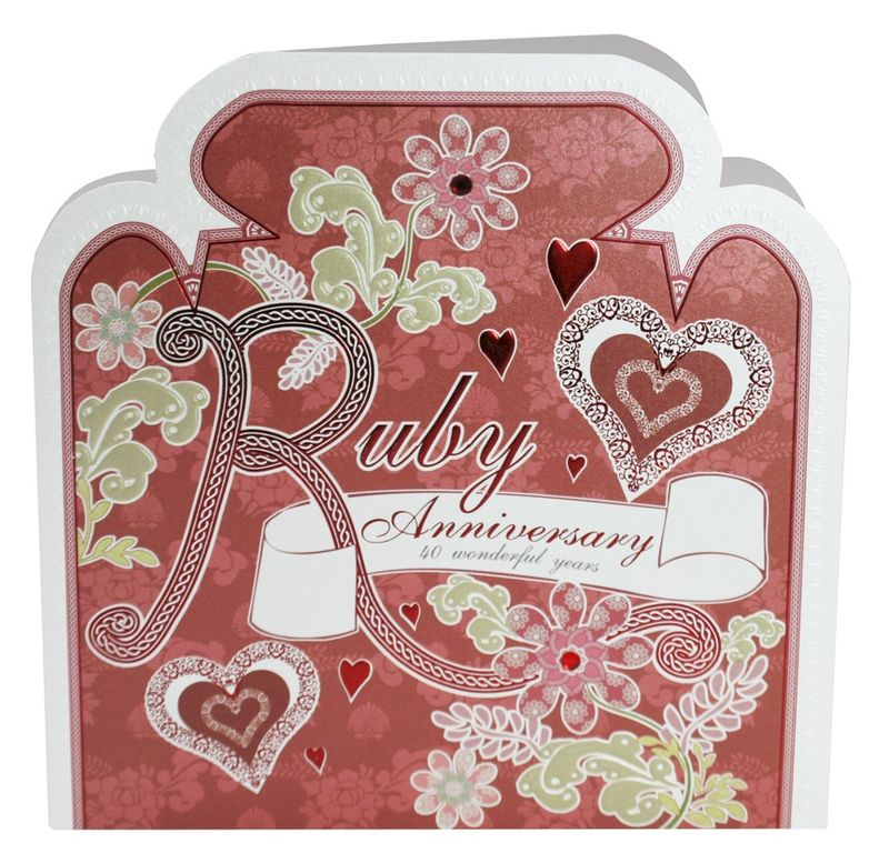 Hand Finished Ruby Wedding Anniversary Card - product images  of