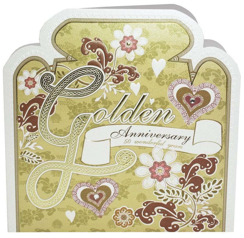 Hand Finished Golden Anniversary Card - product images  of