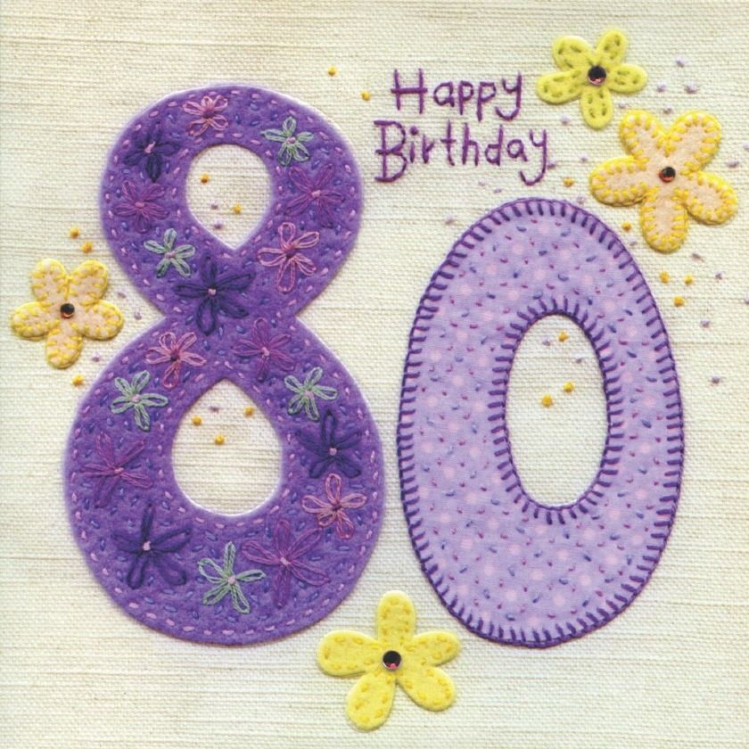 Hand Finished 80th Birthday Card