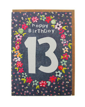 Hand Finished 13th Birthday Card - product images