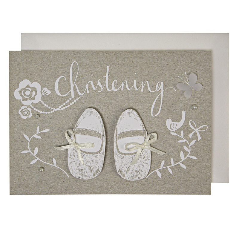 Handmade Christening Shoes Christening Card - product images
