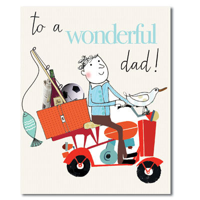 Wonderful,Dad,On,Scooter,Card,buy fathers day cards online, buy dad birthday card online, buy dad father's day card online, fathers day cards for dads, cards for dads, wonderful dad birthday card, scooter card for dad, dad card with scooter, father's day card online, fathers day card