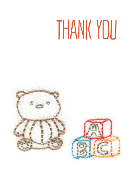 Pack of 5 Teddy Bear Baby Gift Thank You Cards - product images