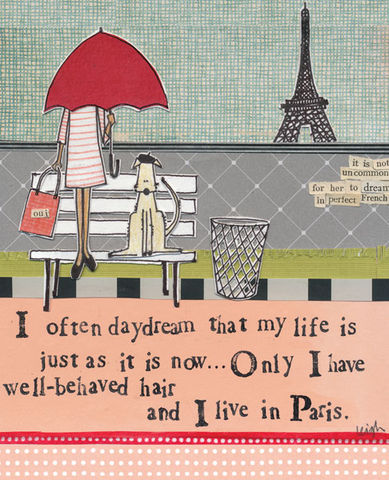 I,Often,Daydream,Of,Paris,Card,-,Curly,Girl,Design,buy warm wishes card online, curly girl card, paris card, france card, dog card, any occasion card, blank card, Eiffel tower card, daydream card, blank greetings card