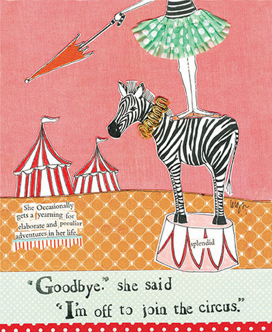 Off,To,Join,The,Circus,Card,-,Curly,Girl,Design,buy curly girl design card online, leaving card, off to join the circus card, bon voyage card, going travelling card, goodbye card, adventure card