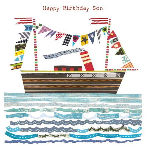 Son,Birthday,Boat,Card,buy son birthday card online, son boats birthday card online, cards for sons, son birthday card, birthday cards for sons, ship, beach, flotilla, seaside, jane robbins card