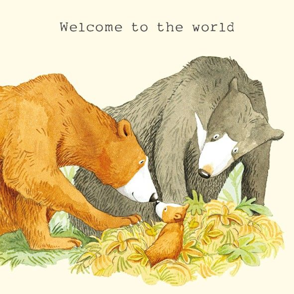 Bear Family Welcome To The World  New Baby Card - product images
